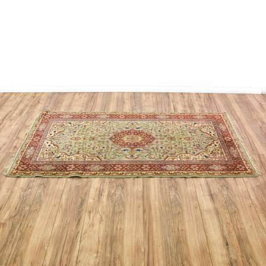 Green & Red Floral Persian Area Rug