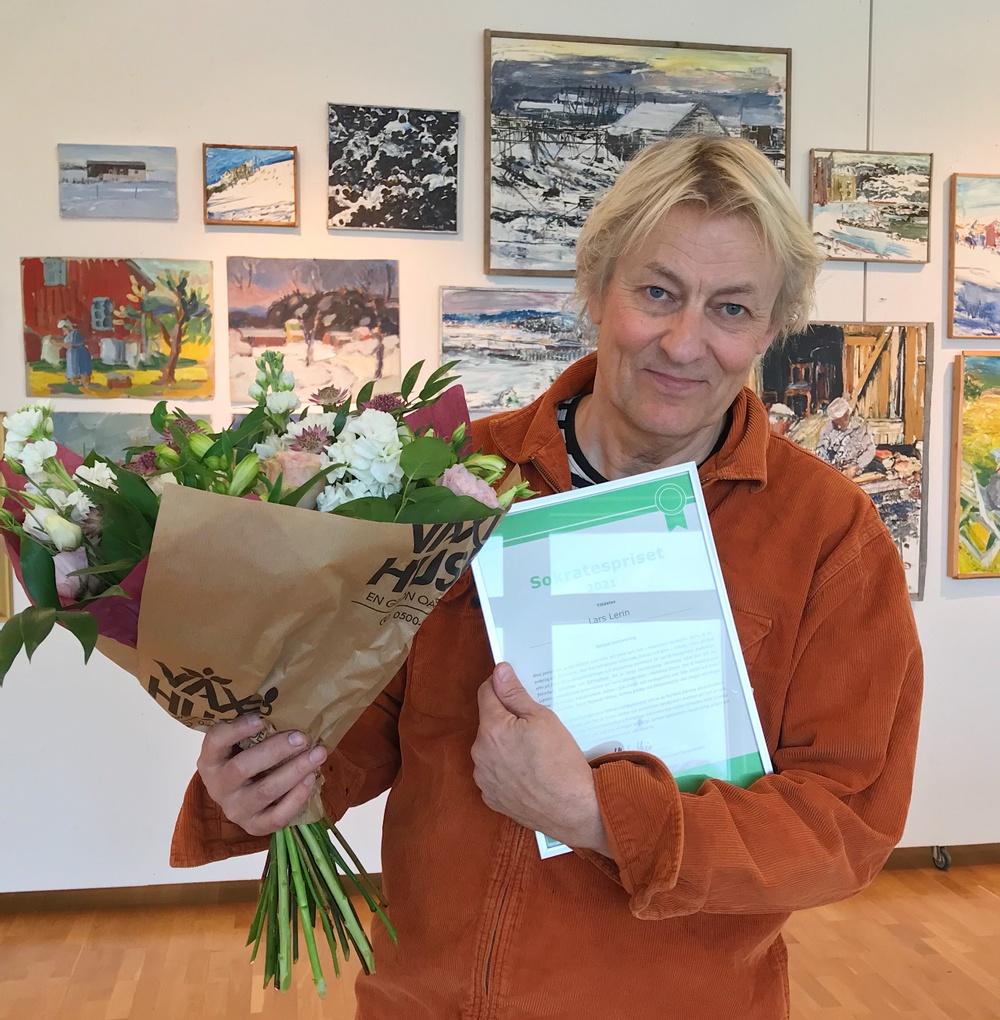 Lars Lerin, mottagare av Sokratespriset 2021. Foto: Studieförbundet Vuxenskolan