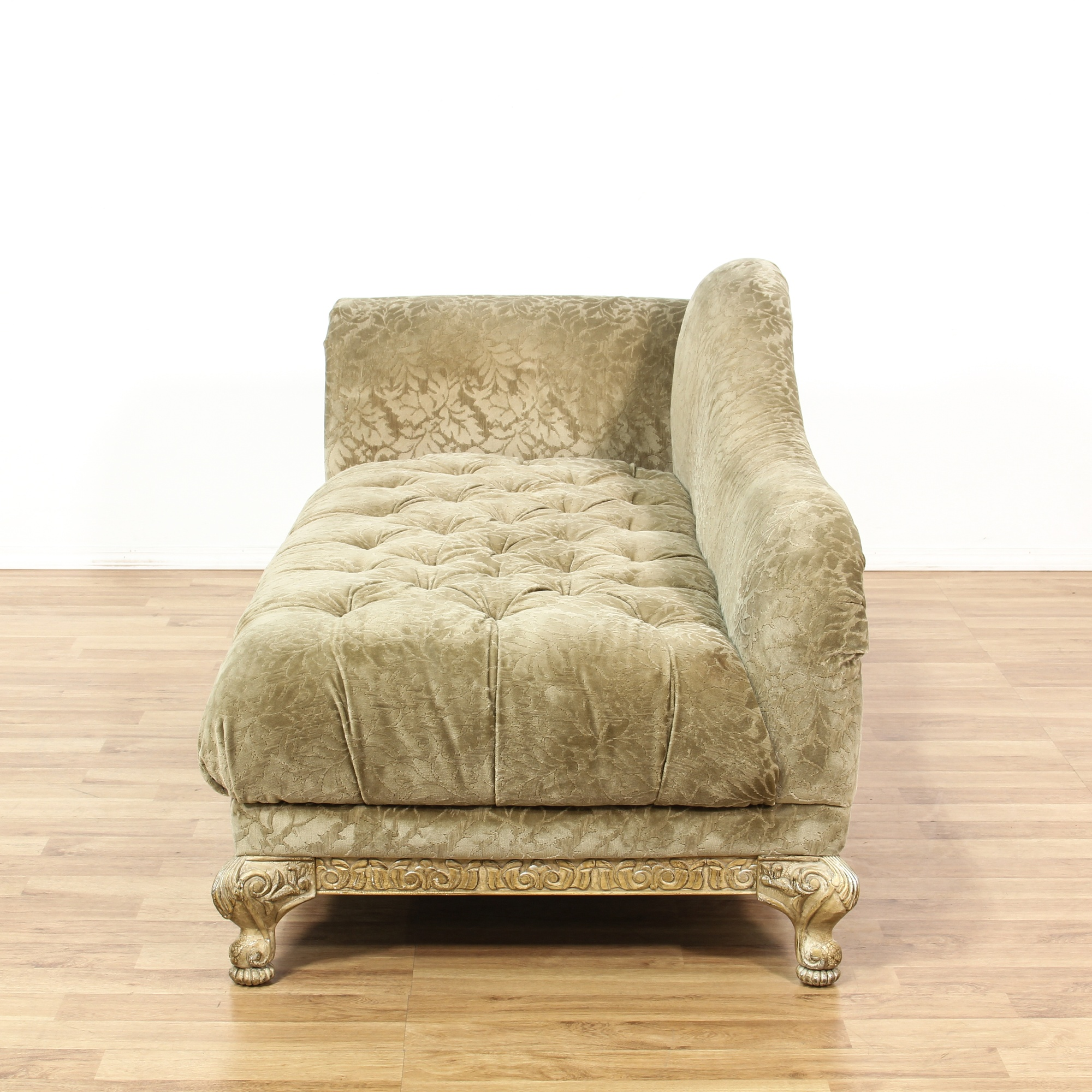 Carved cream tufted chaise lounge loveseat vintage for Carved wooden chaise