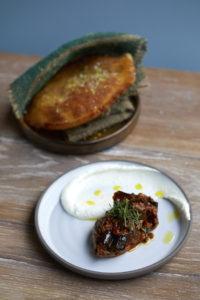Arepa, eggplant sambal, bergamot labneh