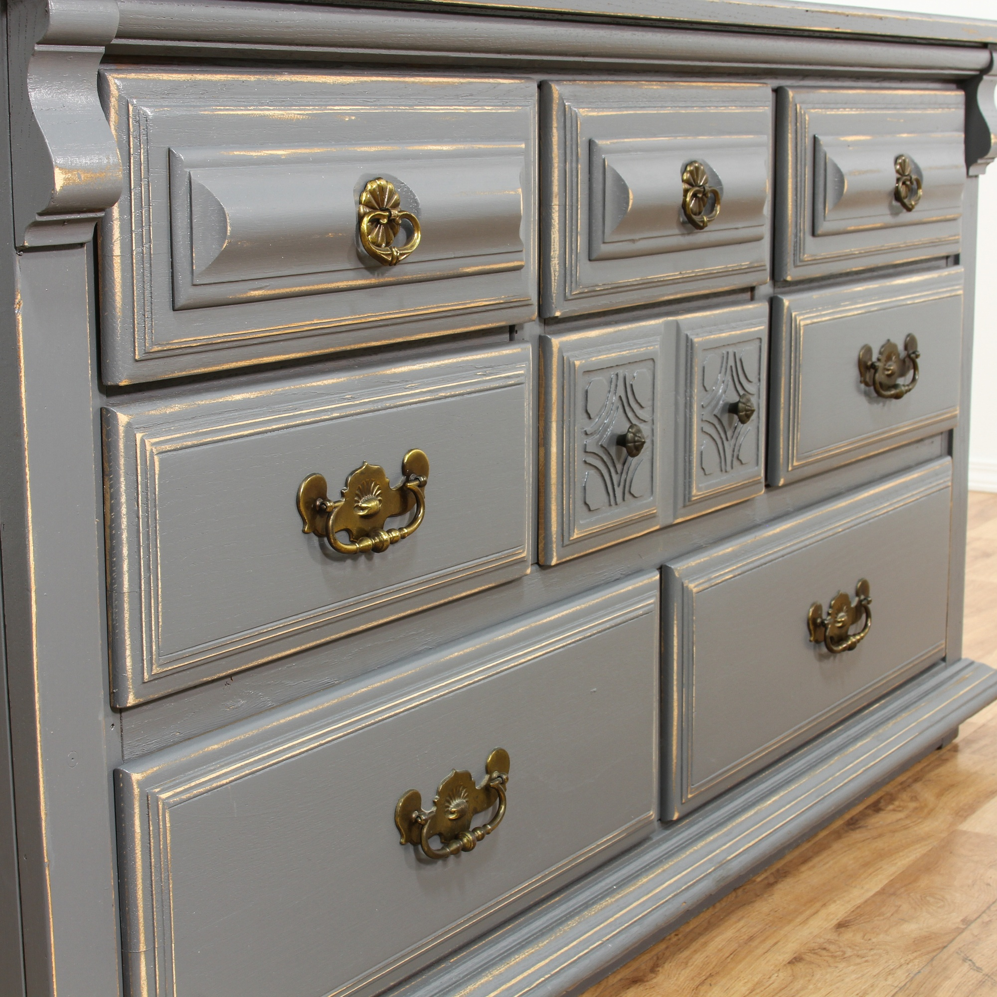 Gray shabby chic 8 drawer dresser loveseat vintage - Gray shabby chic furniture ...