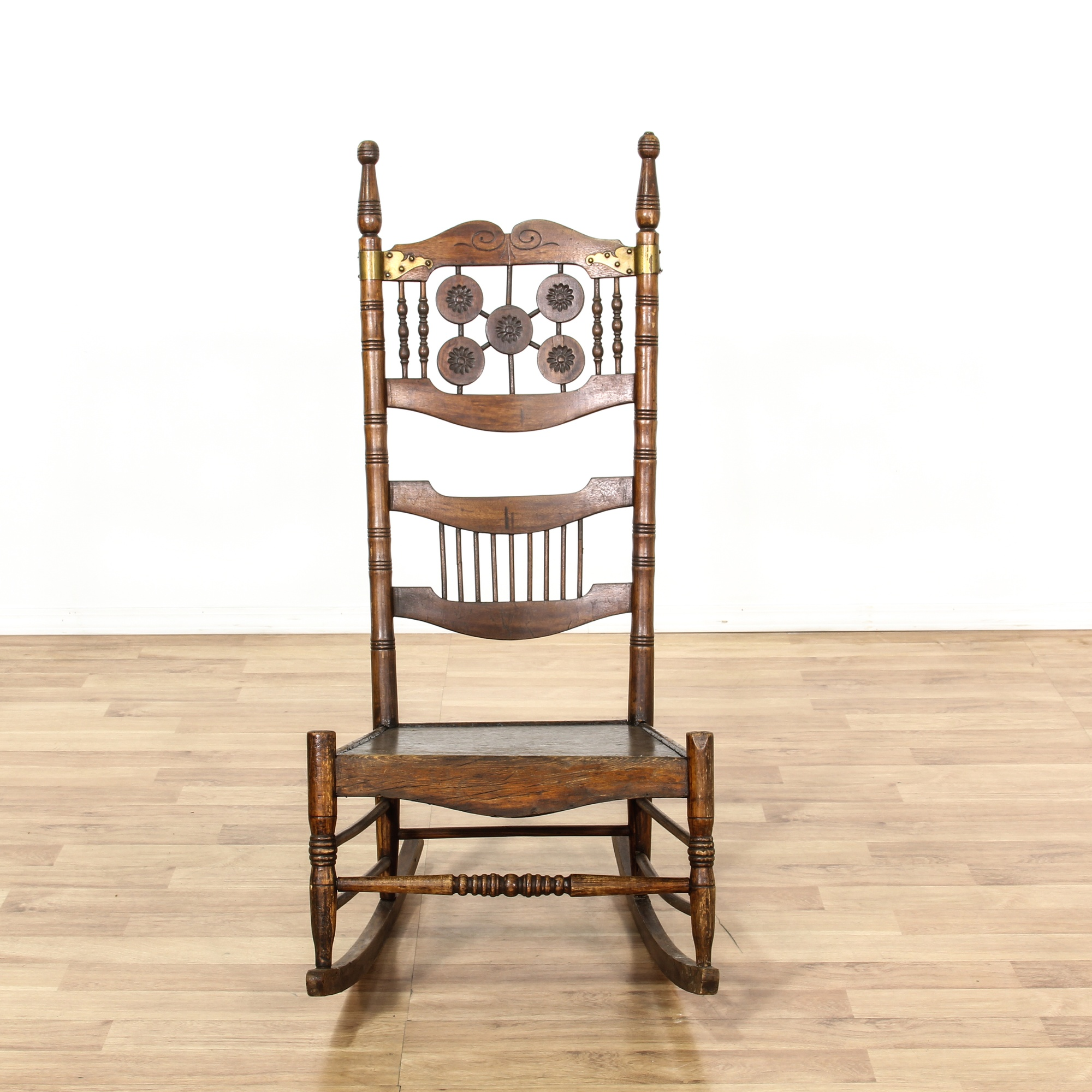 Antique Oak Tall Spindle Back Rocking Chair Loveseat