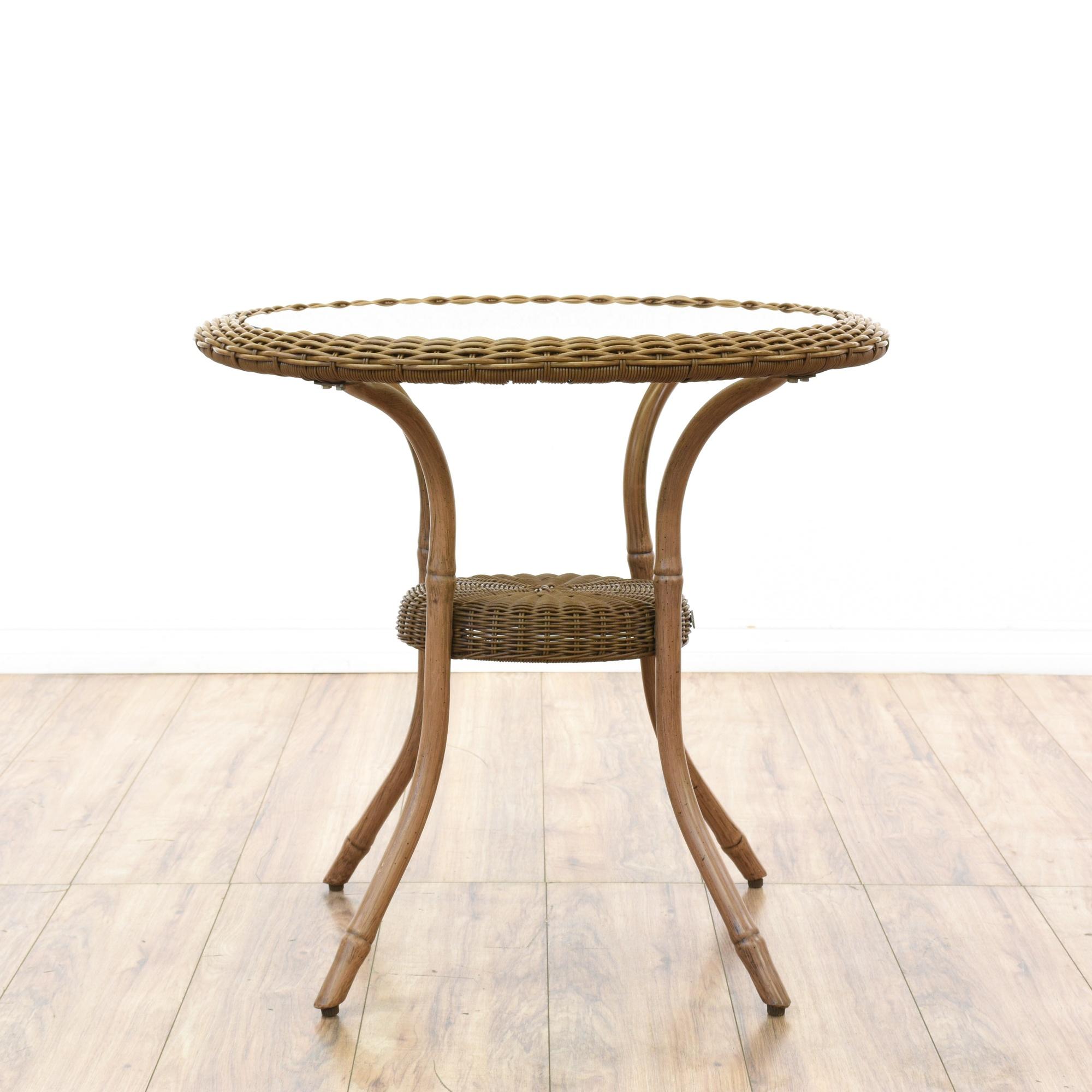 "Hampton Bay"" Glass & Wicker Patio End Table"