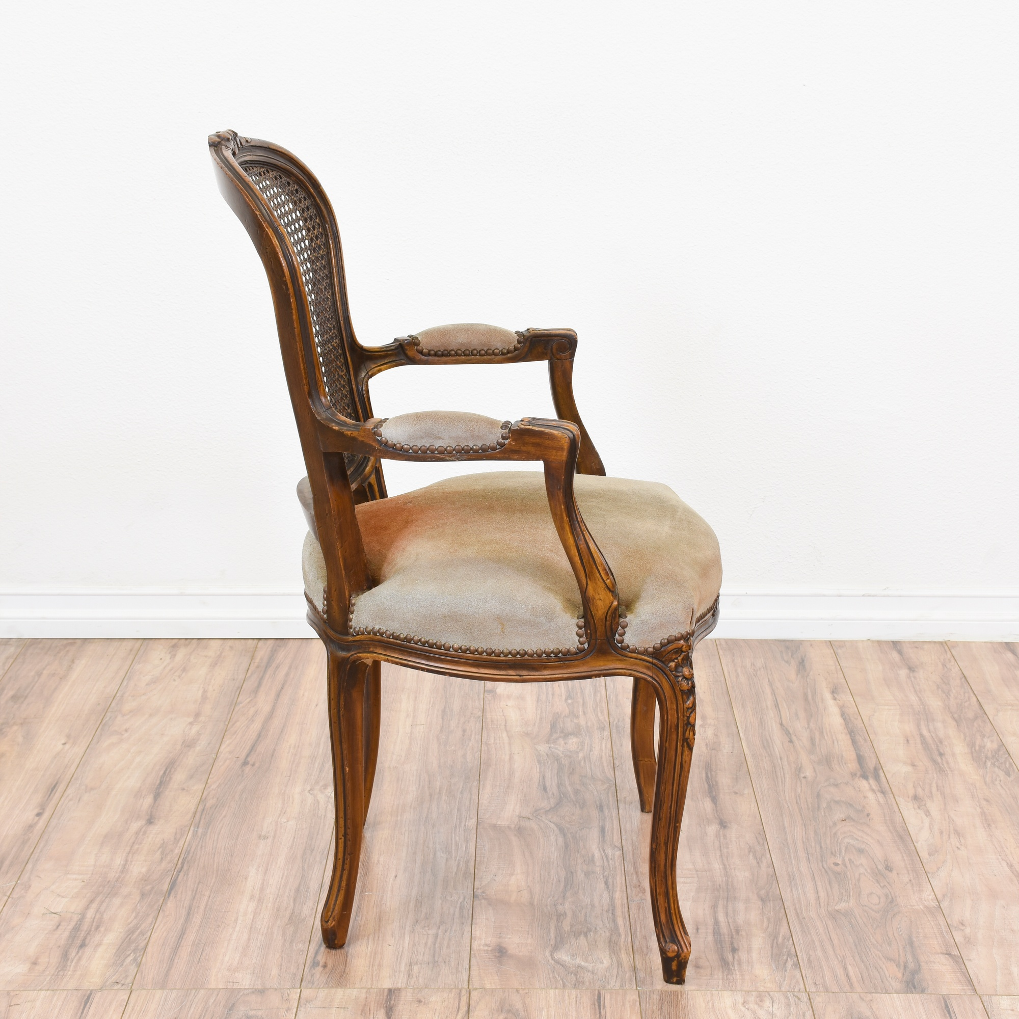 Pair of Leather Cane Chairs
