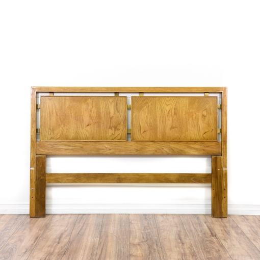 Mid century modern brass oak full headboard loveseat for Mid century modern furniture san francisco