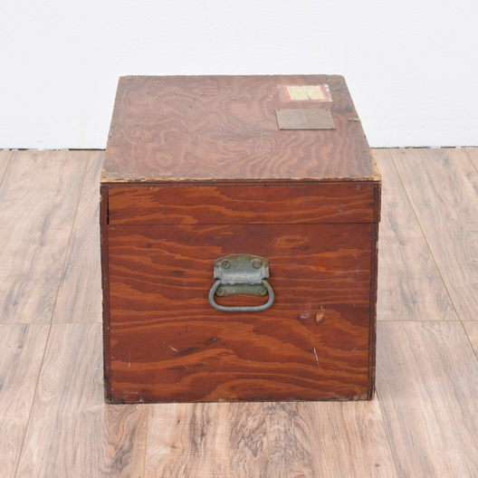 Military trunk in solid wood loveseat vintage furniture