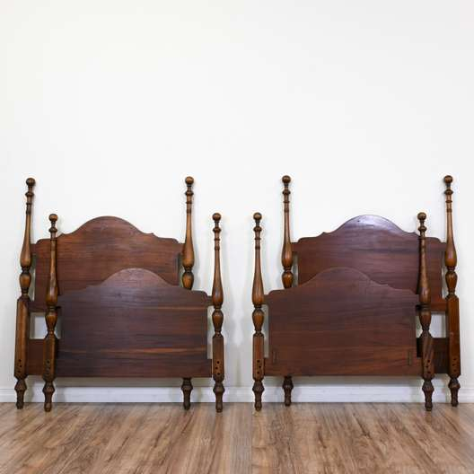 Pair of Antique Twin Carved Bedframes