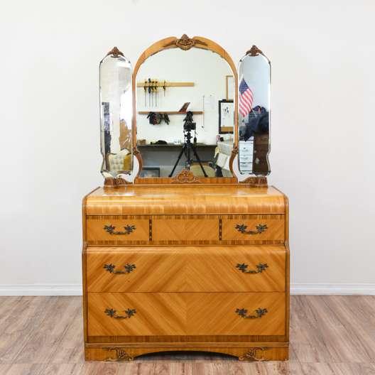 Art Deco Waterfall Front Vanity Dresser w/ Mirror