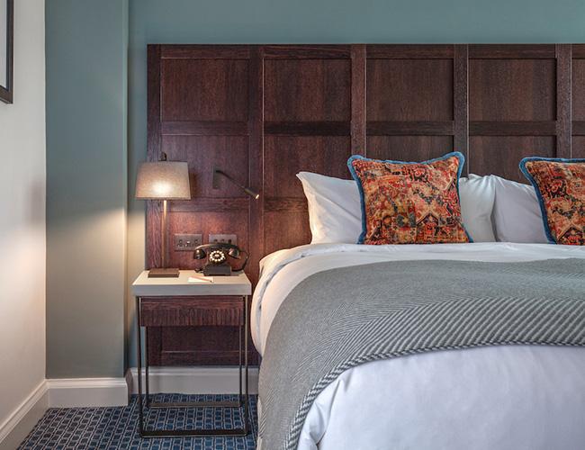 Bedroom at the Tamburlaine hotel, Cambridge