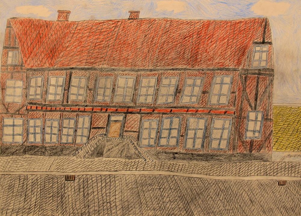 Husteckning av Roger Marmdal. Foto: Kulturcentrum Skåne