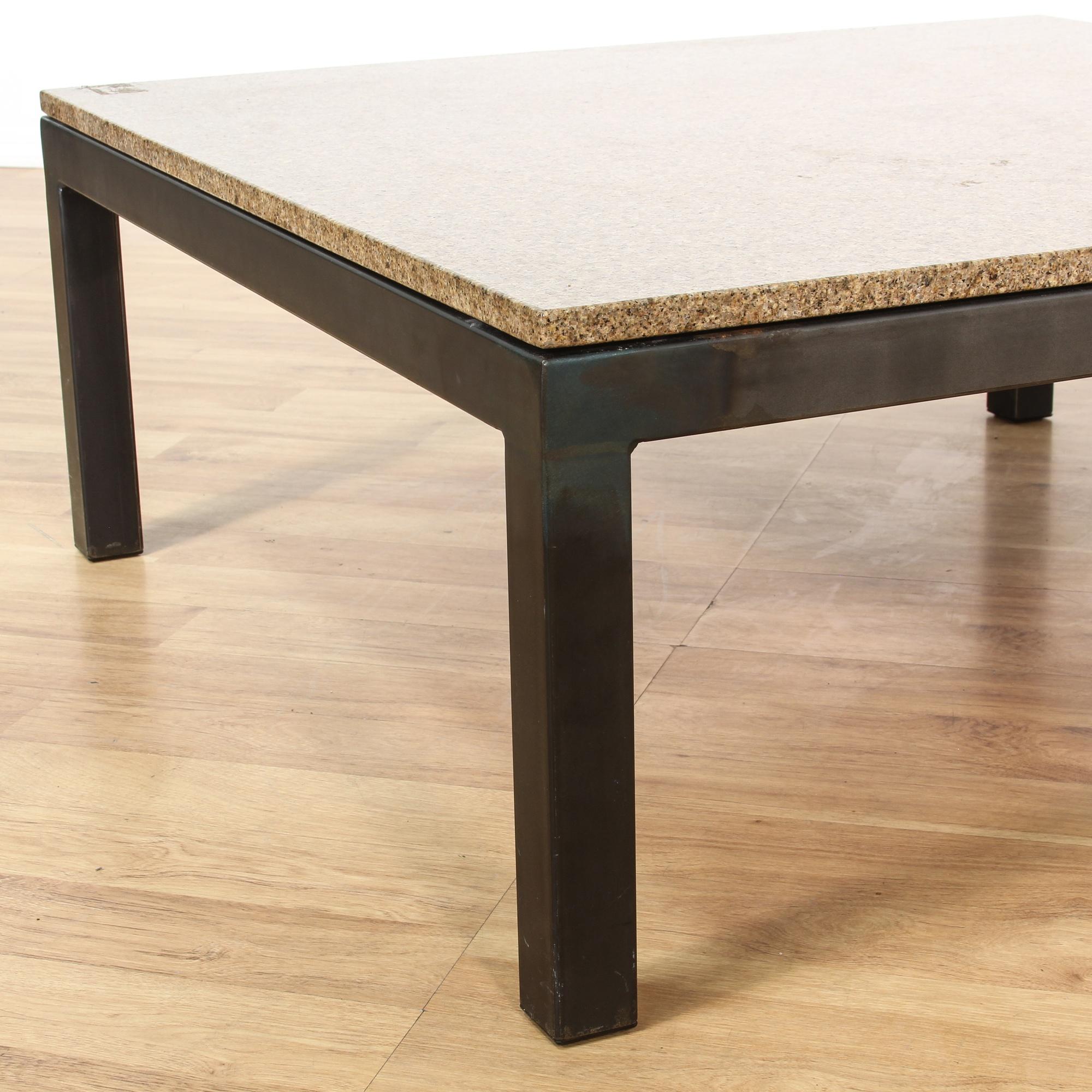 Metal Base Marble Top Coffee Table