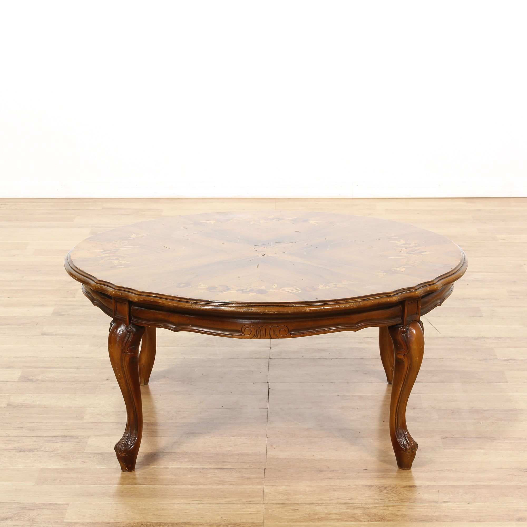 Round Floral Marquetry Inlay Coffee Table Loveseat Vintage Furniture San Diego Los Angeles