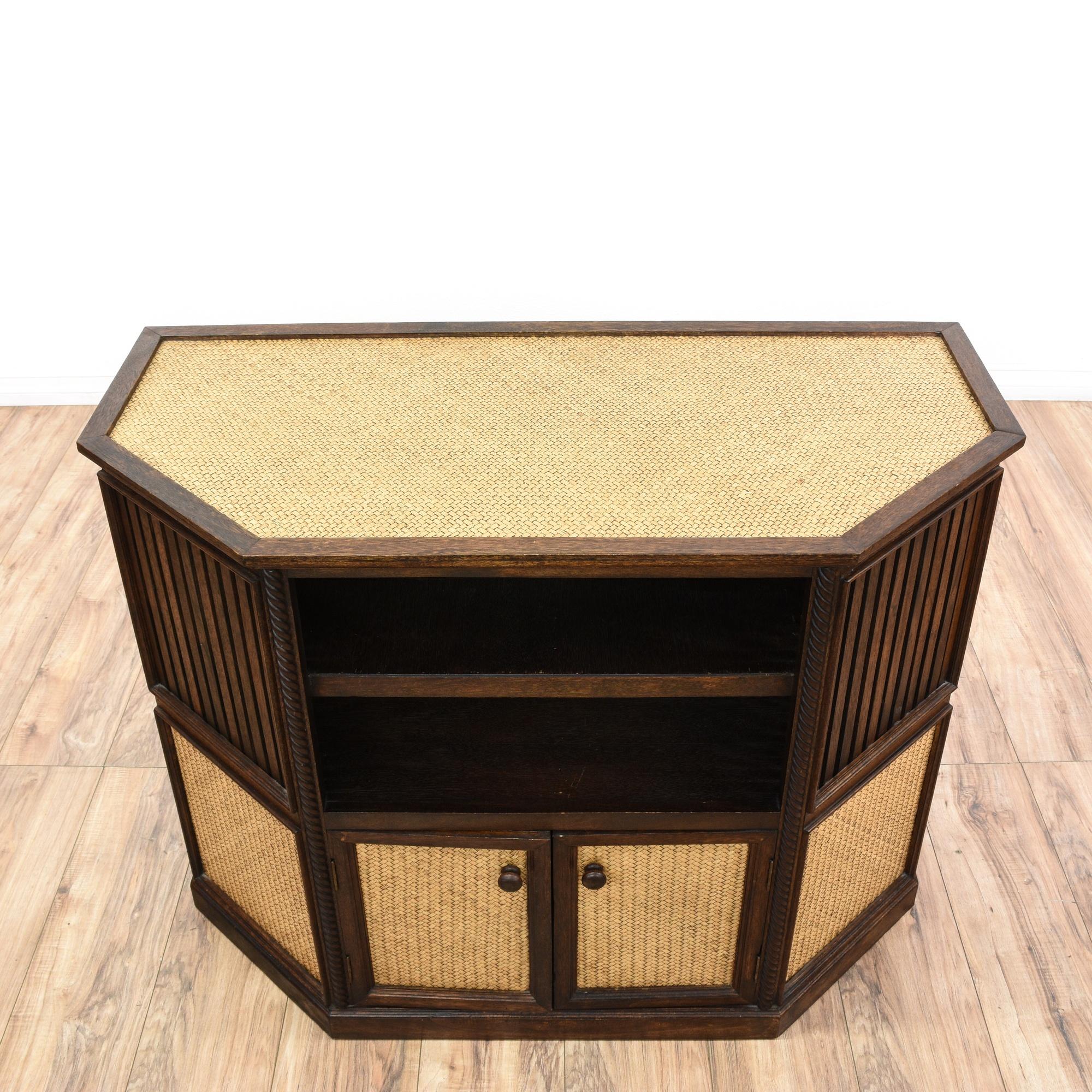 Wood Rattan Media Stand Loveseat Vintage Furniture San