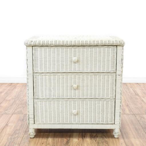 Cottage Chic White Wicker 3 Drawer Dresser Loveseat