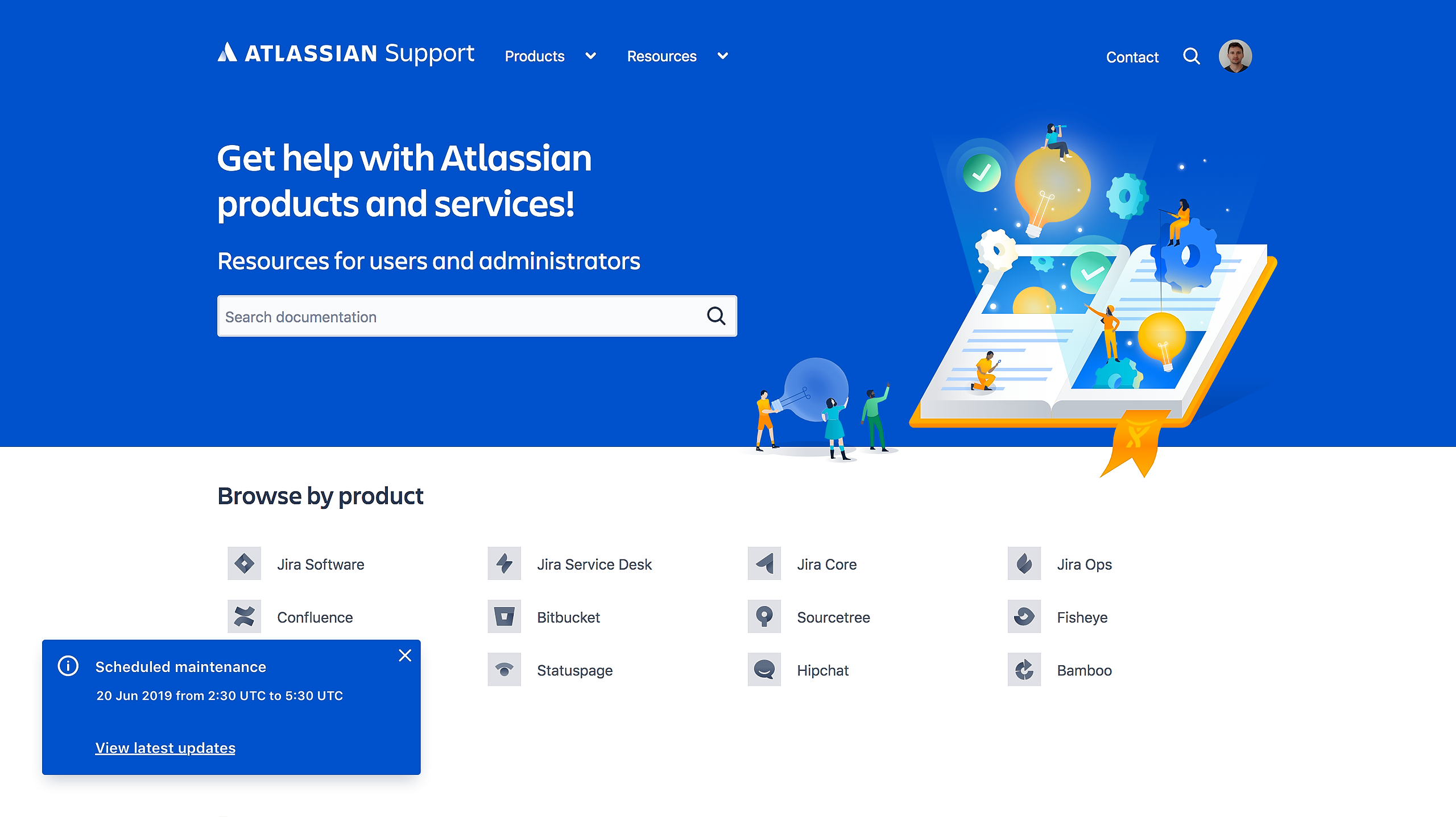 Atlassian support page with status embed flag in bottom left corner