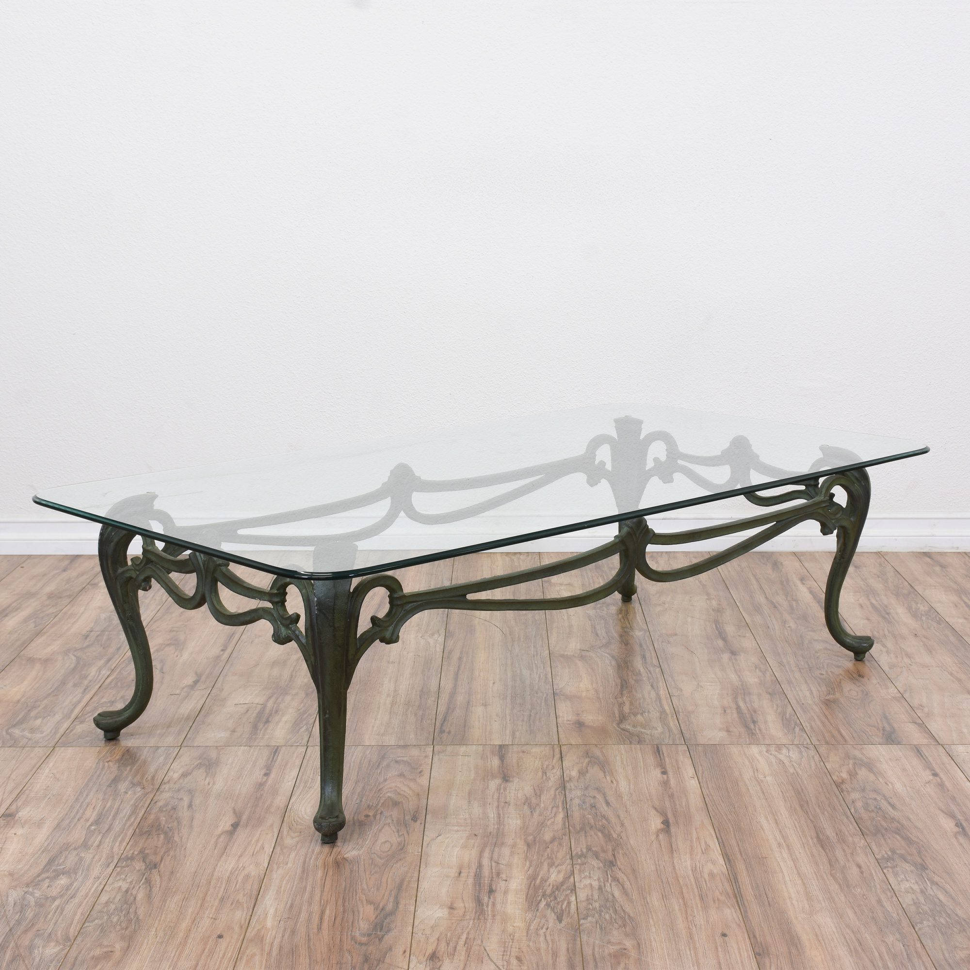 Art Nouveau Cast Iron Glass Top Coffee Table