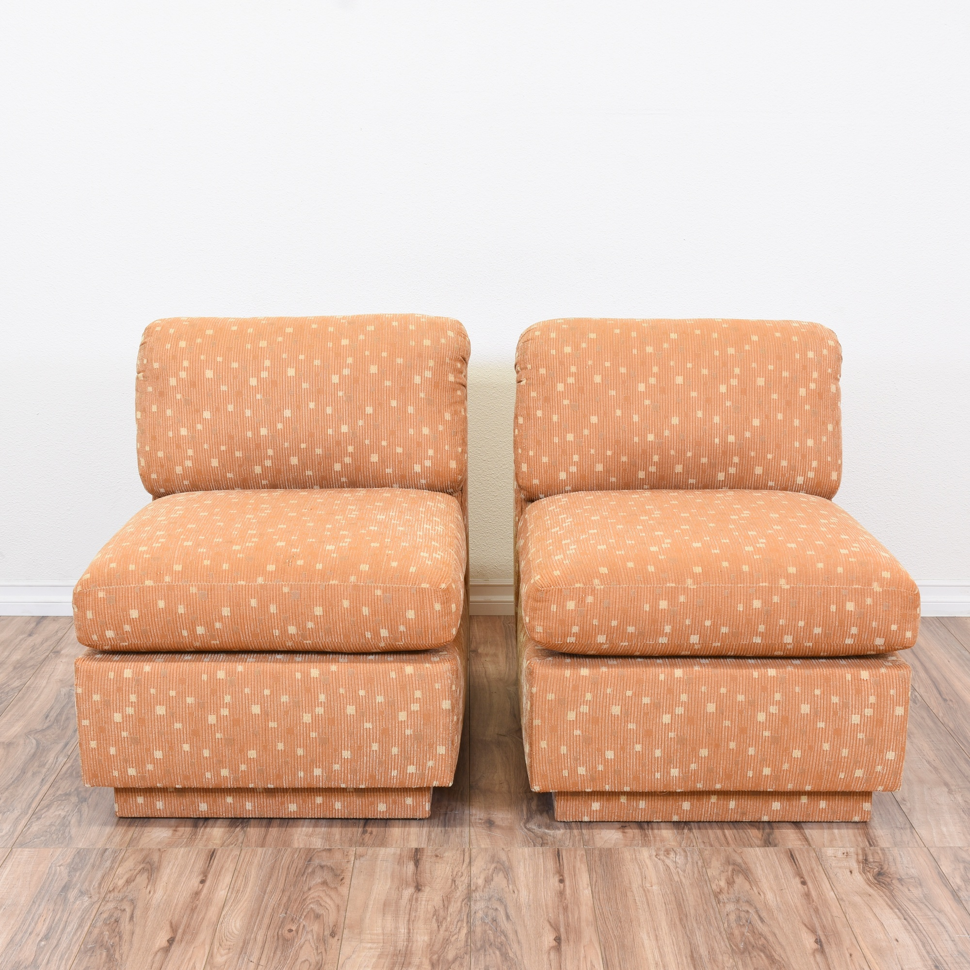 Pair Of Retro Modular Orange Sofa Chairs