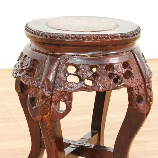 Engraved Limestone Inlay : Asian carved wood marble top plant stand loveseat