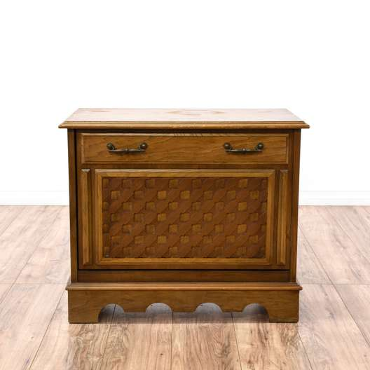 Carved Front Record Storage Cabinet
