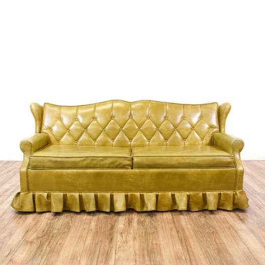 Gold Vinyl Tufted Sleeper Sofa Bed