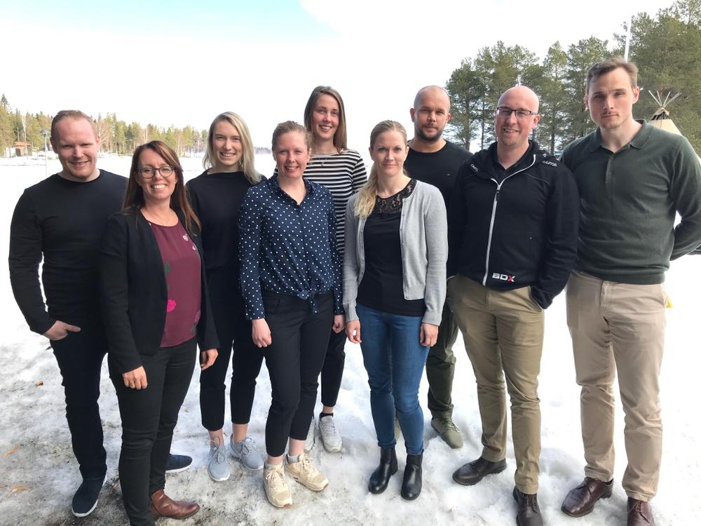 Tobias Eriksson, kursledaren Ylva Löwenborg, Helena Bäckman Andersson, Karoline Frykman, Erika Berglund, Sara Ström, Emil Lind, Carl-David Andersson och Anders Englund.