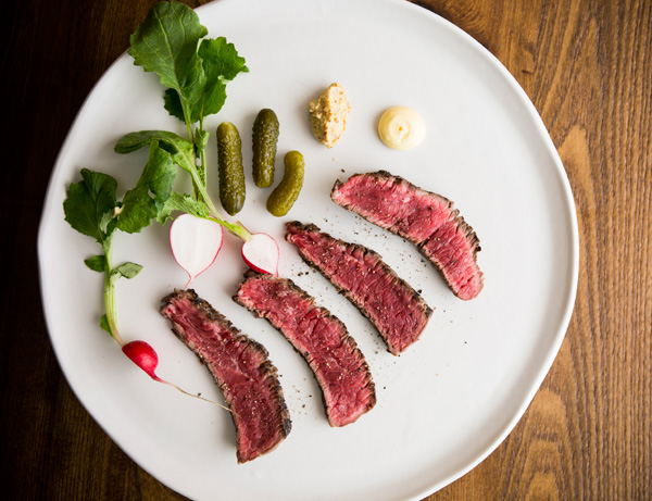 Rare aged rump of Mount Grace farm beef, cornichons, radishes, mustard and anchovy