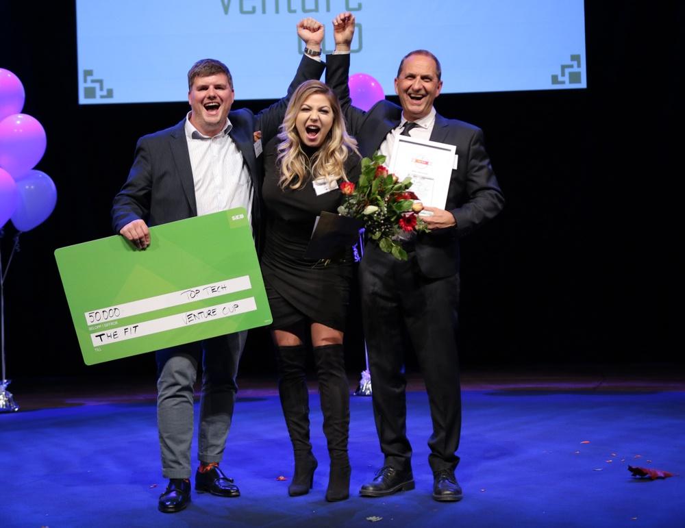 Teamet bakom The Fit, vinnarna av priset Top Tech 2018. Foto: Victor Ackerheim