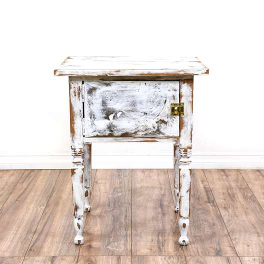 Shabby Chic Distressed White Cabinet w/ Lock