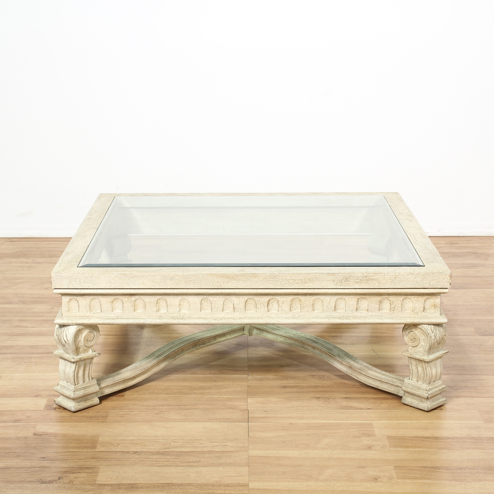 Large White Carved Glass Top Coffee Table