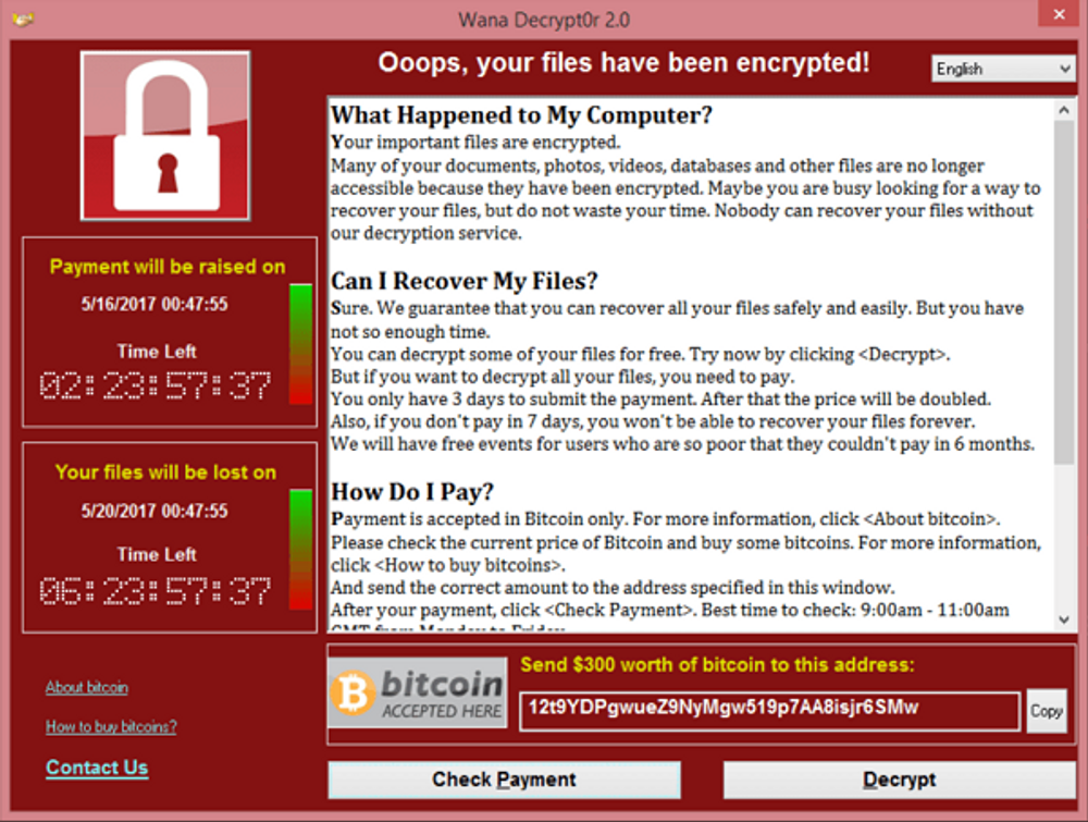 A message to victims of the WannaCry ransomware attack demands $300 USD in bitcoin.