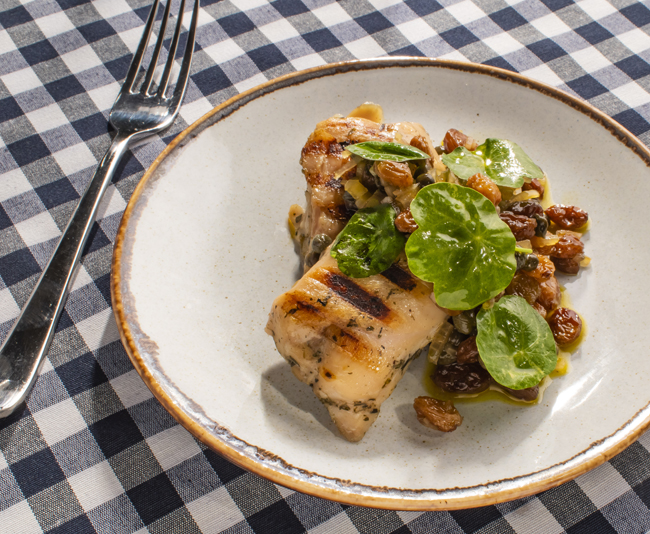 Chargrilled herb-fed chicken thighs, caper and raisin dressing