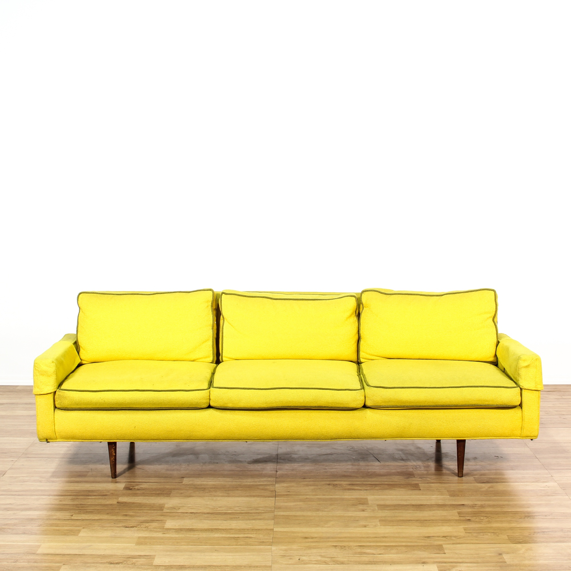 Bright Yellow Mid Century Modern Sofa Loveseat Vintage Furniture San Diego Los Angeles