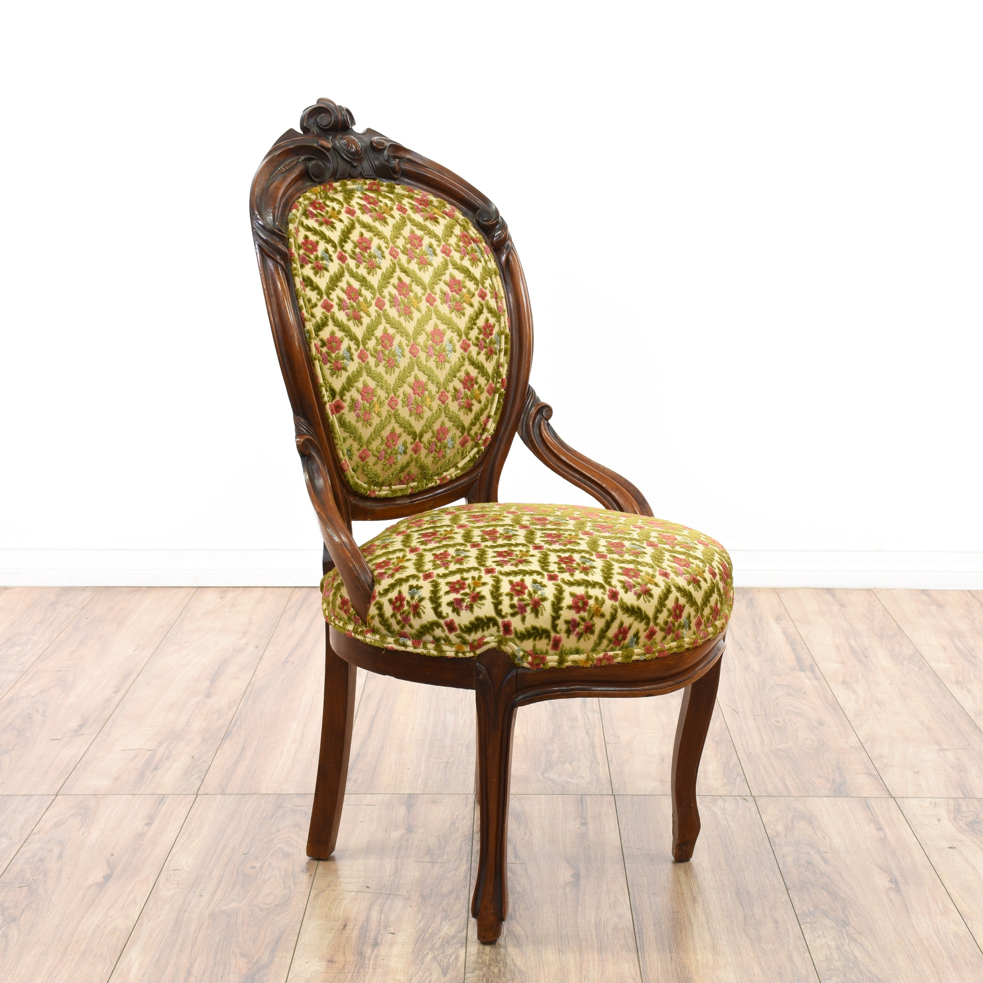 Pair of victorian upholstered chairs loveseat vintage for Victorian furniture los angeles
