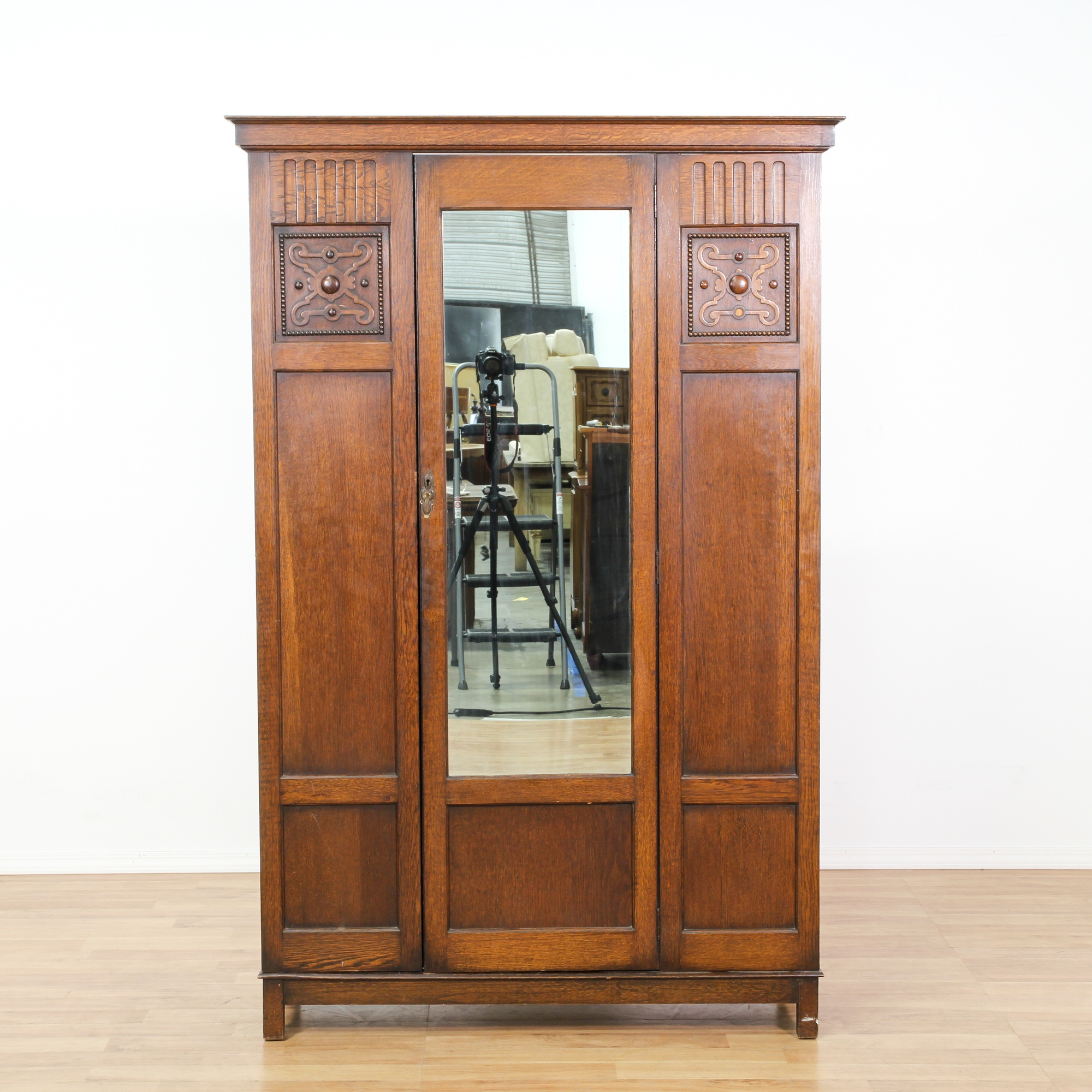 Large Antique Oak Carved Armoire W Mirror Loveseat