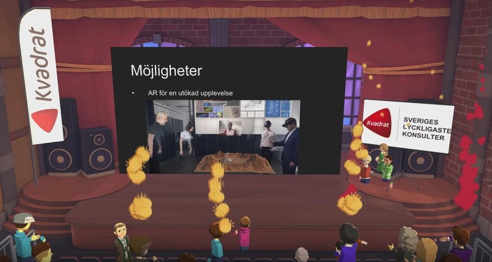 Kvadratkonsulterna Michel Boutros och Charlotte Albertsson berättade om ett kundcase där VR skapar nya mötesmöjligheter för verksamheten.
