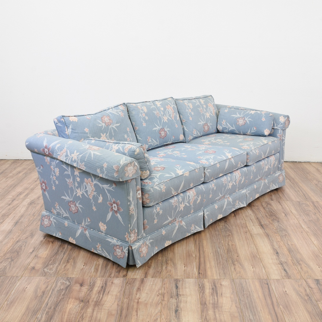 Blue Floral Sofa Loveseat Vintage Furniture San Diego Los Angeles
