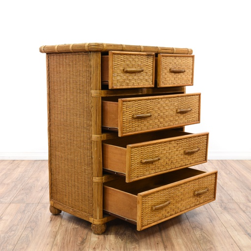 Tropical Tall Wicker Rattan Dresser Loveseat Vintage