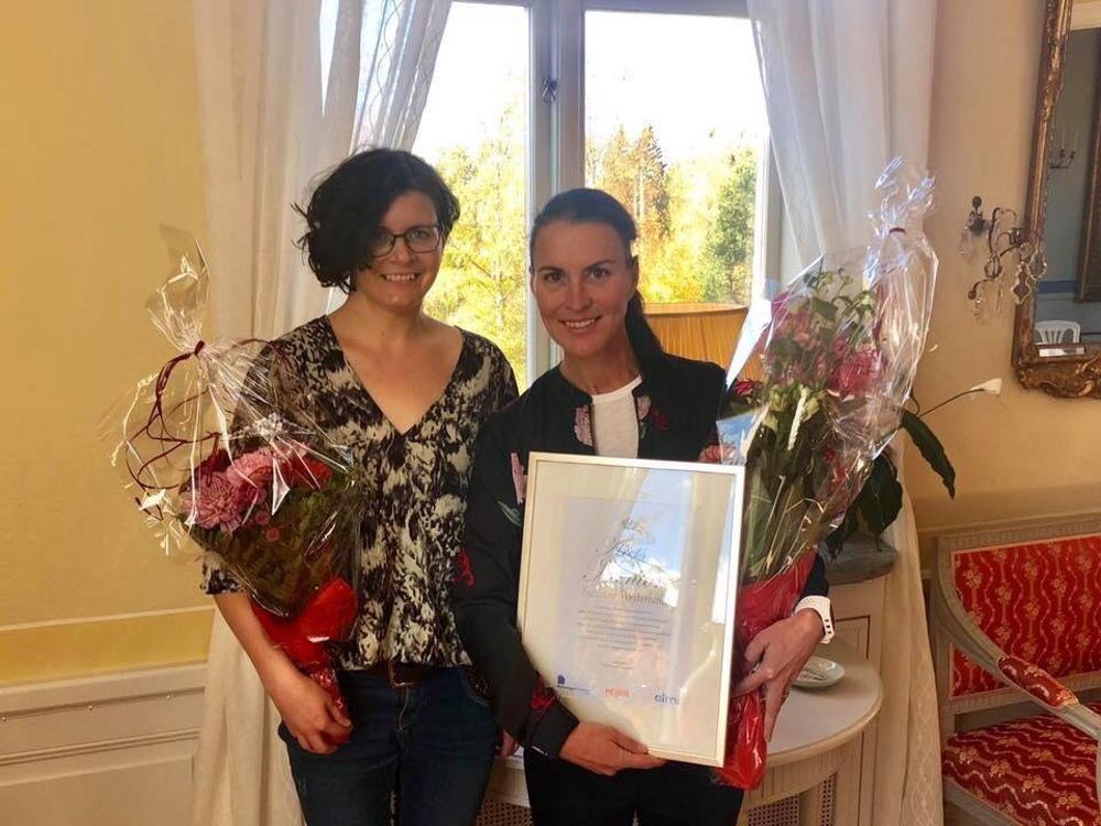 Årets Mentor Nya Företag Norrbottens län Susanne Westerlund, Inpuls Träning och adepten Therese Muotka.