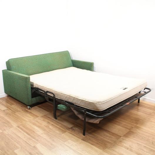 Woven Green Mid Century Modern Sleeper Sofa Loveseat