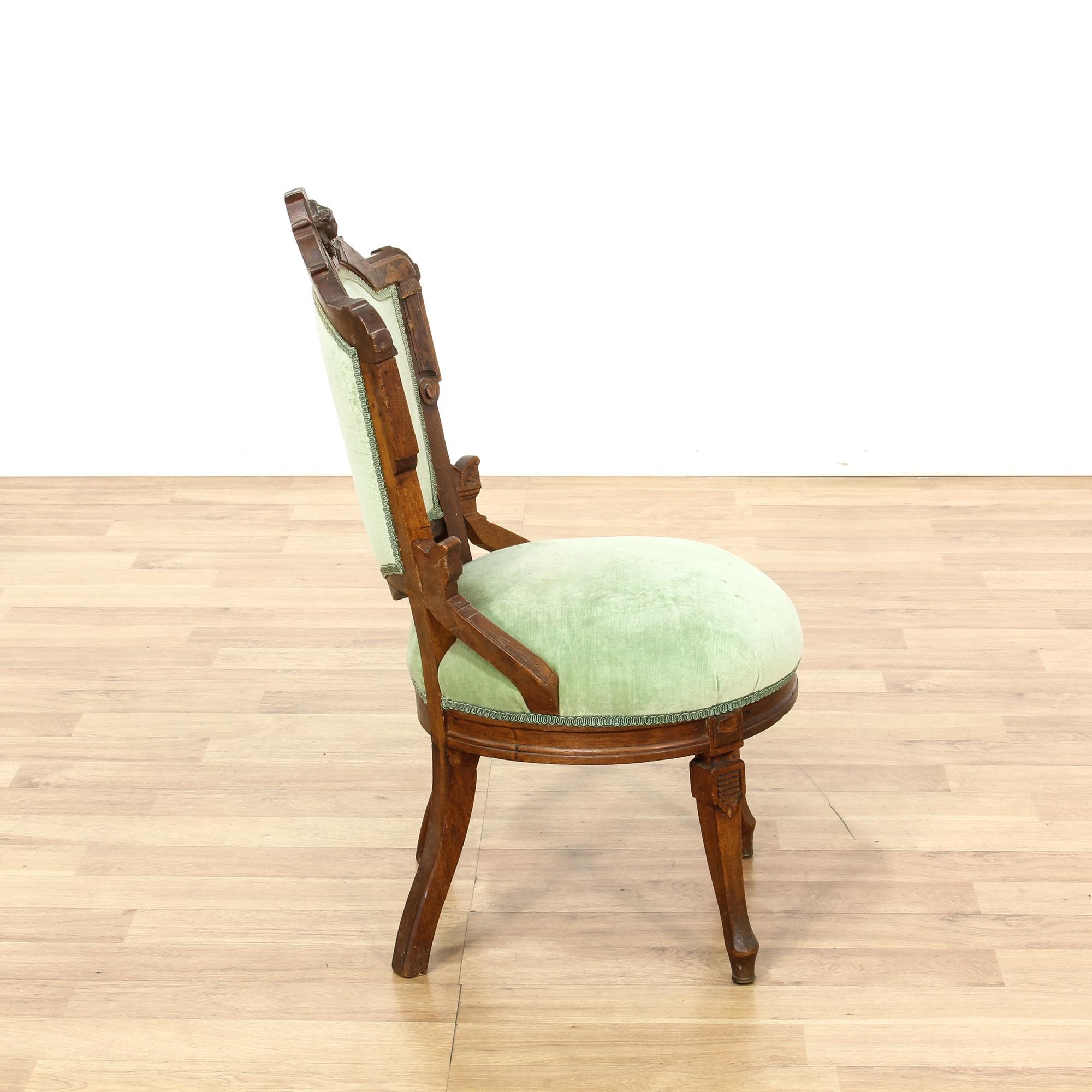 Green Velvet Upholstered Carved Victorian Chair Loveseat