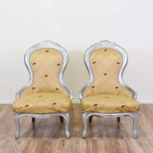 Pair of Gold and Silver Chairs