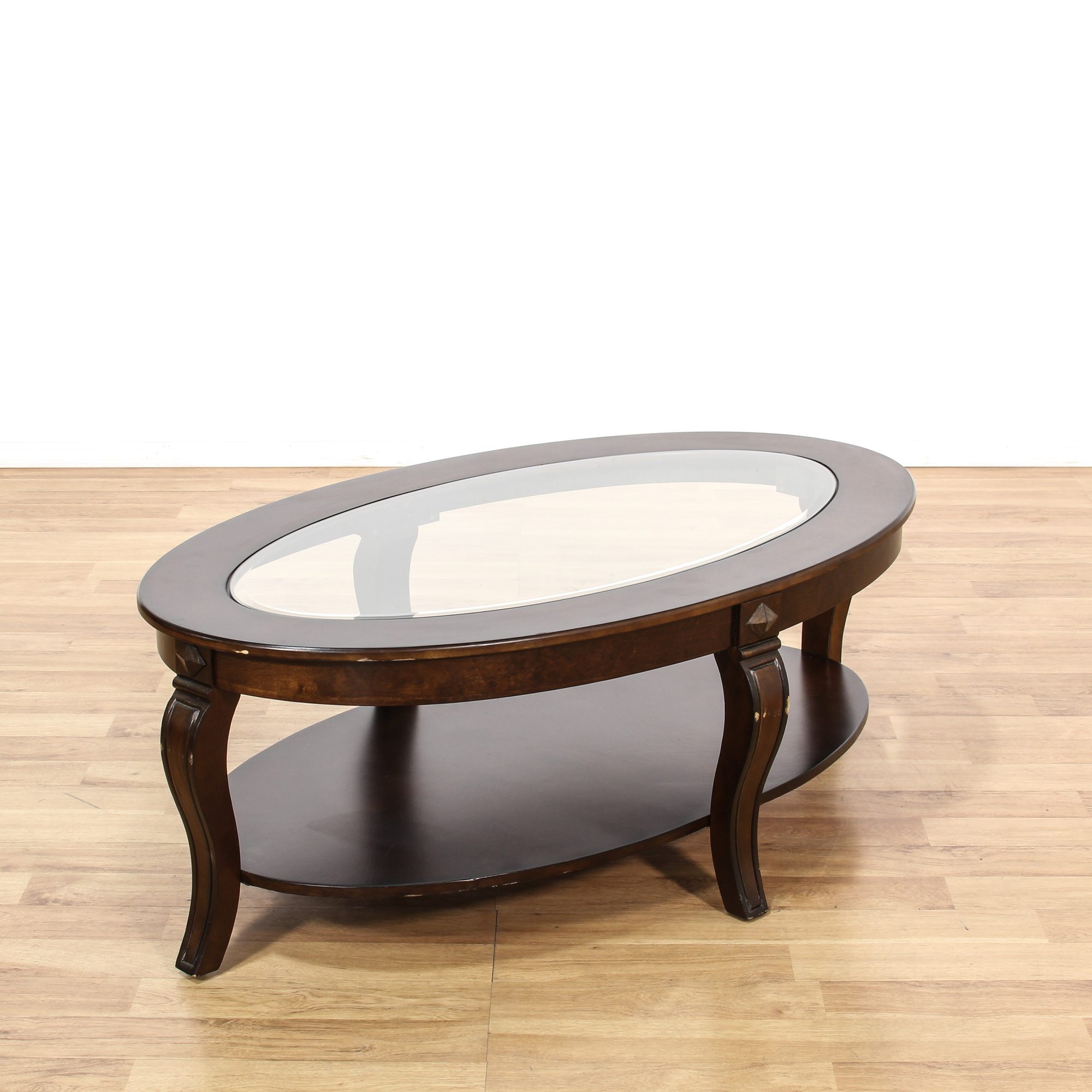 Stained Glass Coffee Table Book: Oval Dark Stained Glass Top Coffee Table