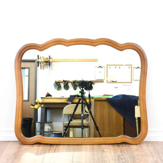 Solid Cherry Retro Curved Mirror