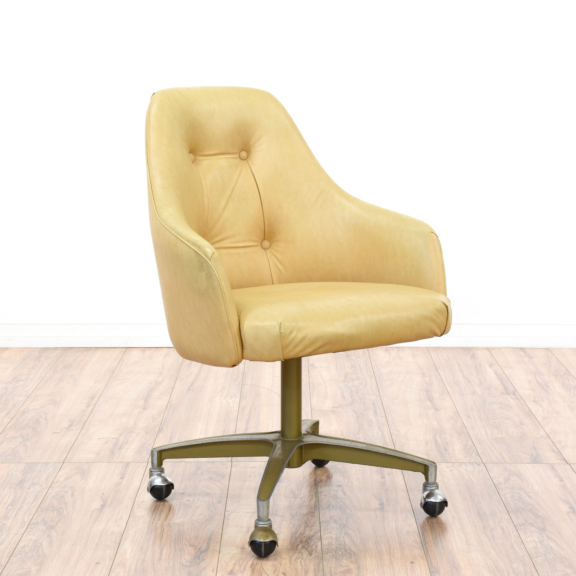 Mid Century Modernist High Back Or Desk Chair W New: Mid Century Modern Beige Vinyl Office Chair