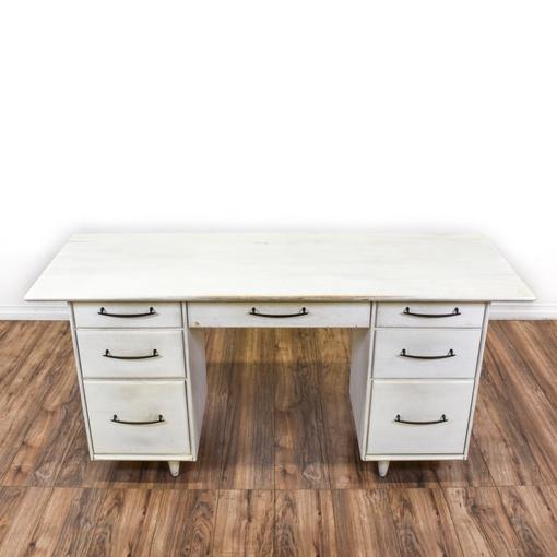 mid century modern 7 drawer white desk loveseat vintage furniture