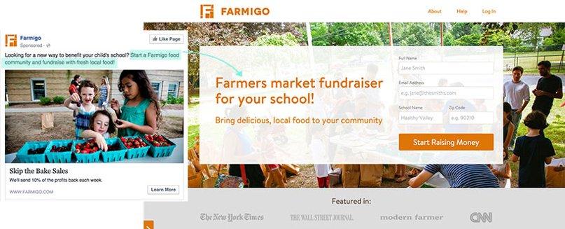 Landing page and ad, Farmigo