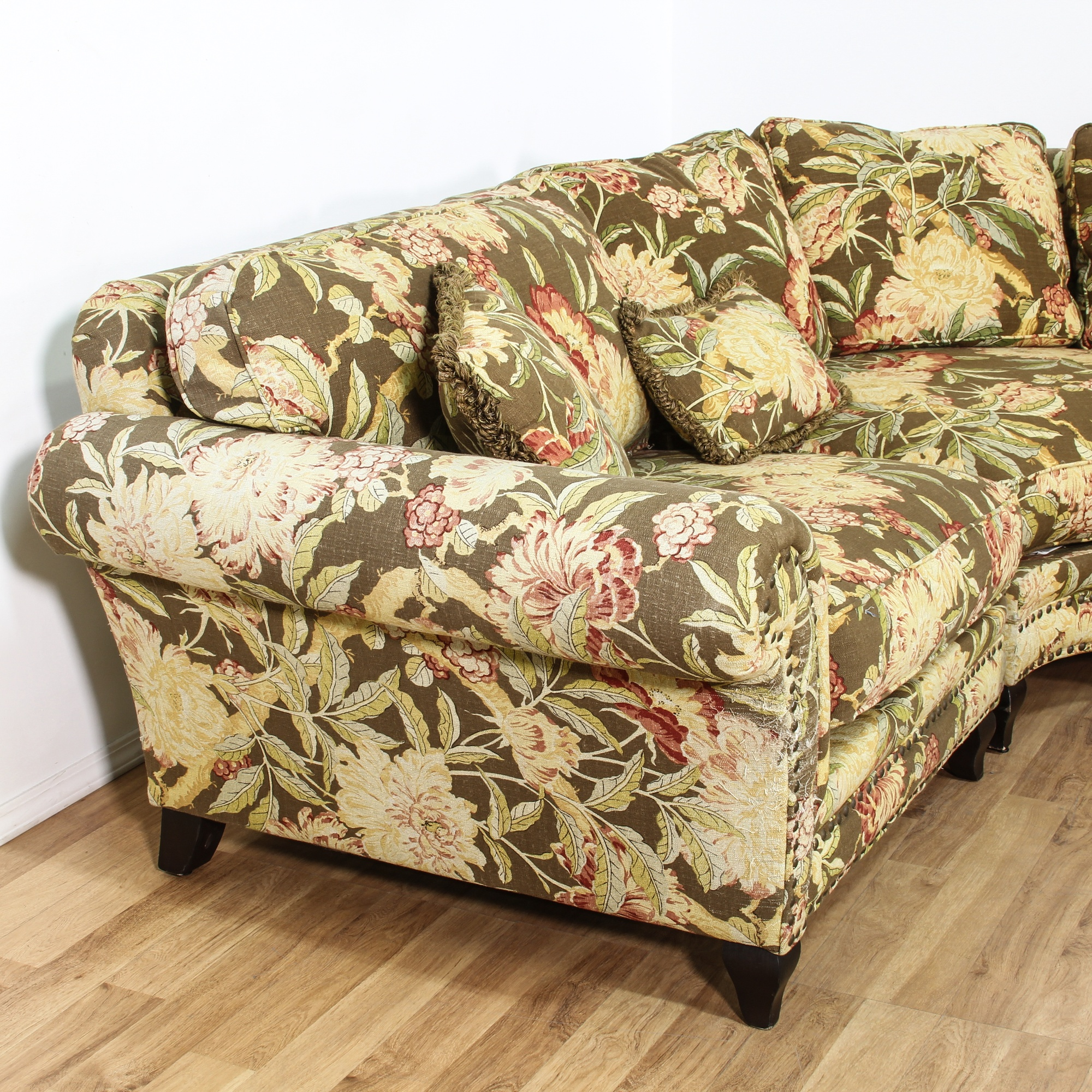 Curved Sectional W Vintage Tropical Fabric Loveseat
