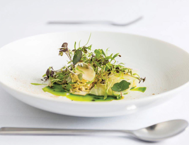 Butter-poached pollock by Matt Worswick at the Latymer