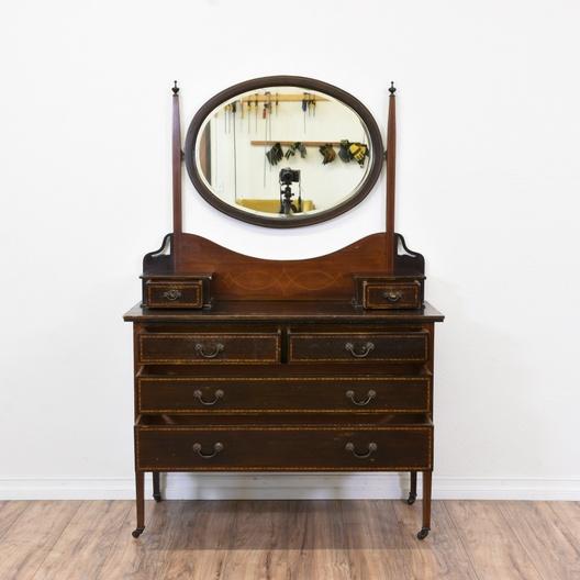 Next - Antique Dresser Vanity W/ Oval Mirror Loveseat Vintage Furniture