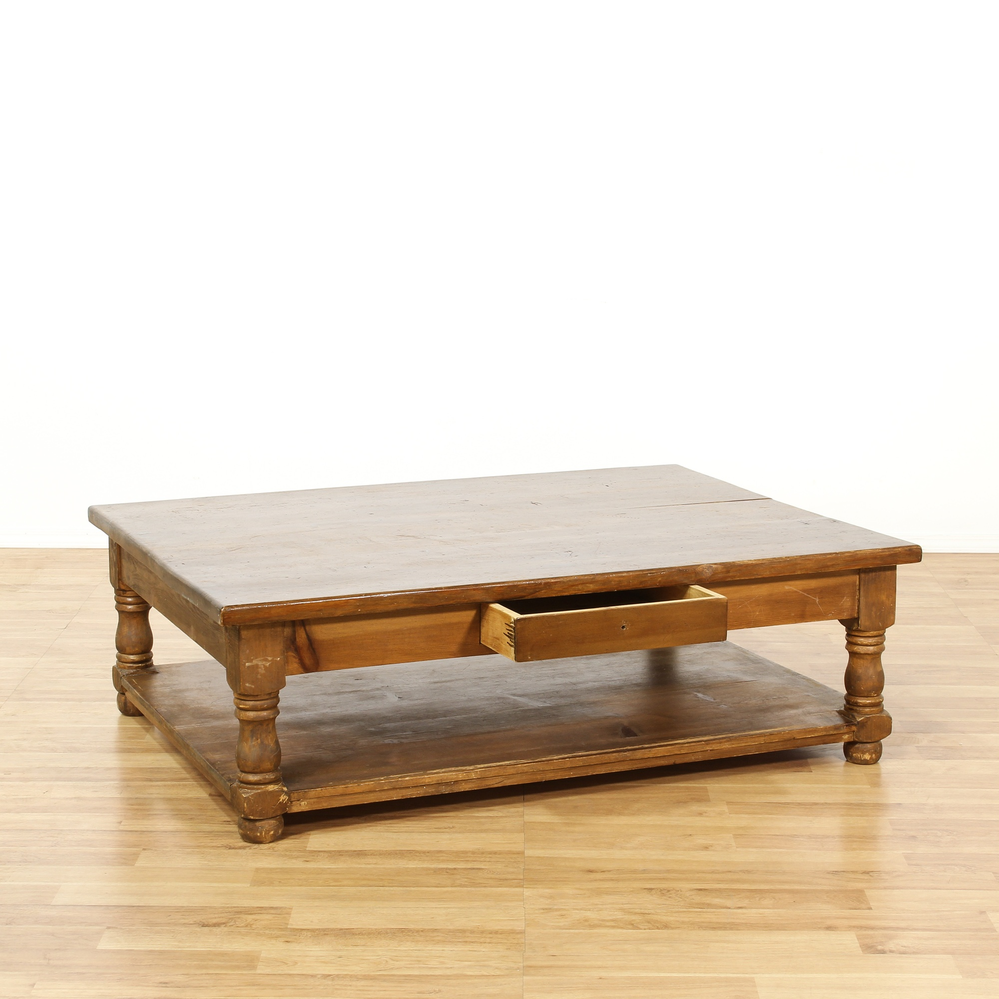 Large Rustic Pine Tiered Coffee Table Loveseat Vintage Furniture San Diego Los Angeles